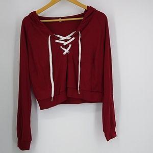 Hooded Crop Top Dark Red Sweatshirt